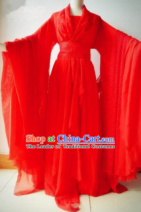 Chinese Traditional Tang Dynasty Bride Red Hanfu Dress Ancient Princess Embroidered Costume for Women