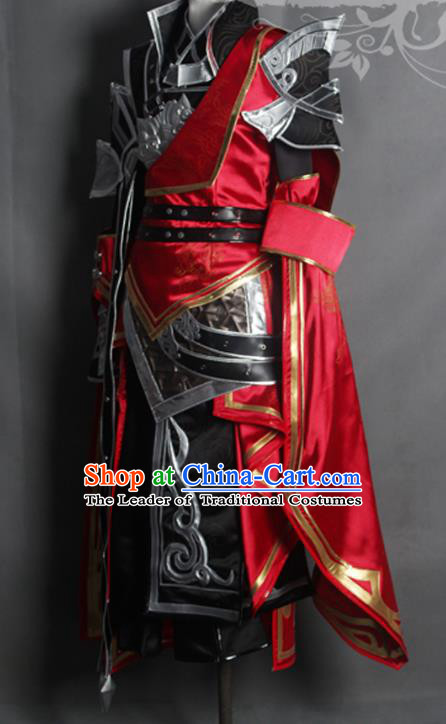 Chinese Ancient Cosplay Warrior Costume Nobility Childe Swordsman Body Armour and Boots for Men