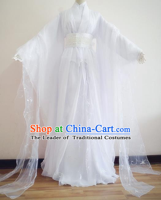 Chinese Ancient Cosplay Princess White Hanfu Dress Traditional Fairy Embroidered Costume for Women