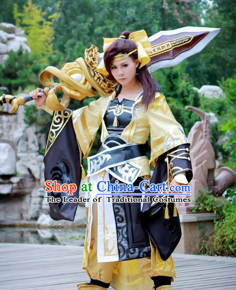 Chinese Traditional Ancient Female Assassin Warrior Body Armor Cosplay Swordswoman Costume for Women