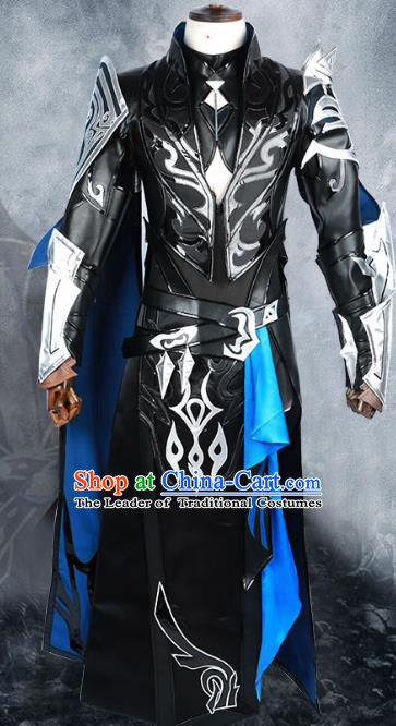 Chinese Ancient Nobility Childe Body Armor Warrior Costume Cosplay Swordsman Clothing for Men