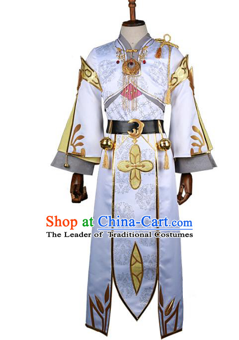Chinese Ancient Nobility Childe White Costume Cosplay Swordsman Clothing for Men