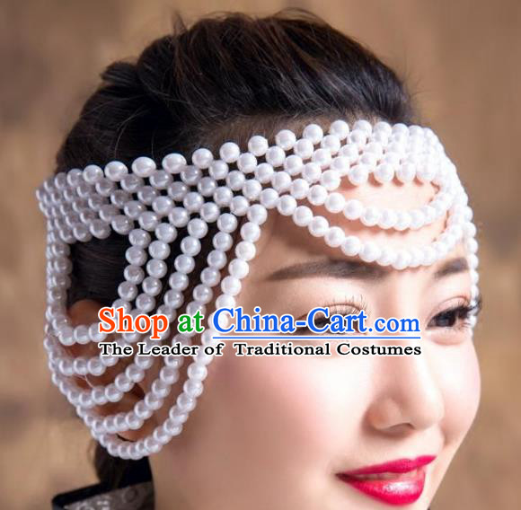 Chinese Traditional Folk Dance Hair Accessories White Beads Hair Clasp, Mongolian Minority Dance Headwear for Women