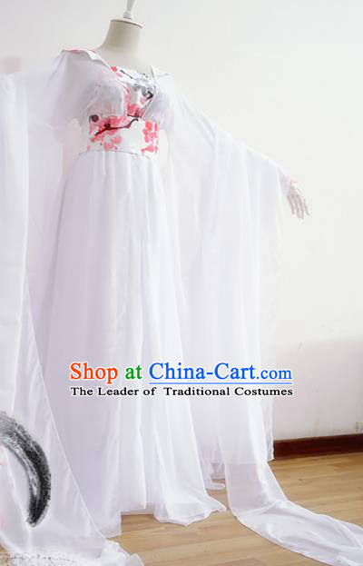 Chinese Traditional Han Dynasty Printing Plum Blossom Hanfu Dress Ancient Court Lady Clothing for Women