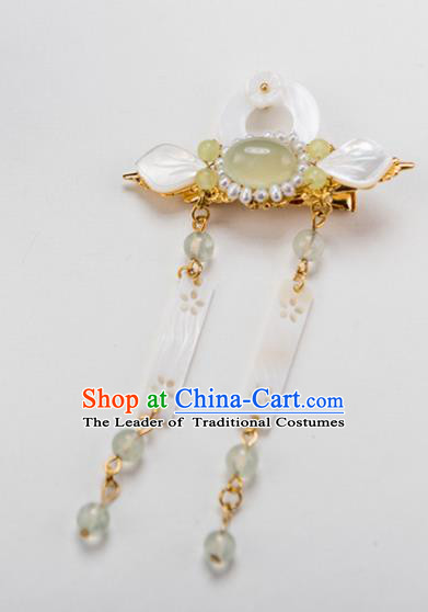 Chinese Ancient Handmade Hair Accessories Hanfu Pearls Shell Tassel Hair Stick for Women