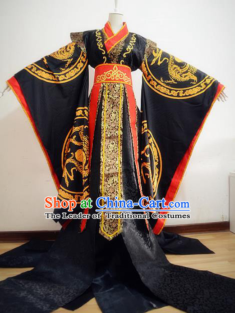 Chinese Qin Dynasty Emperor Hanfu Ancient King Swordsman Traditional Clothing for Men