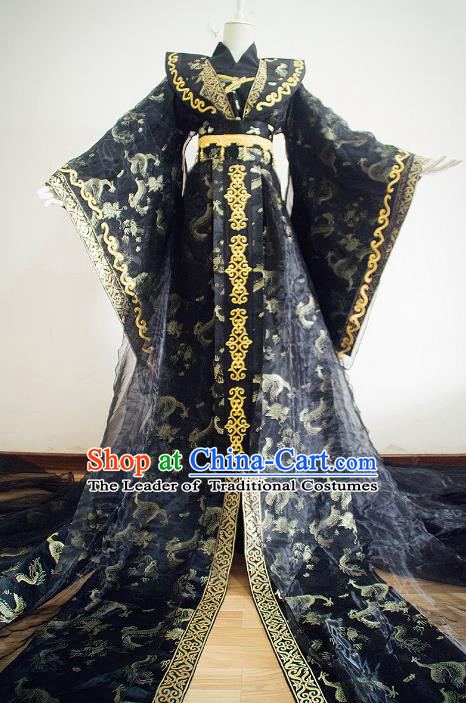 Chinese Qin Dynasty Empress Black Hanfu Dress Ancient Queen Traditional Clothing for Women