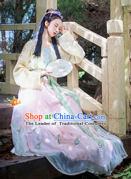Chinese Ancient Young Lady Costumes Traditional Song Dynasty Imperial Princess Embroidered Hanfu Dress for Women