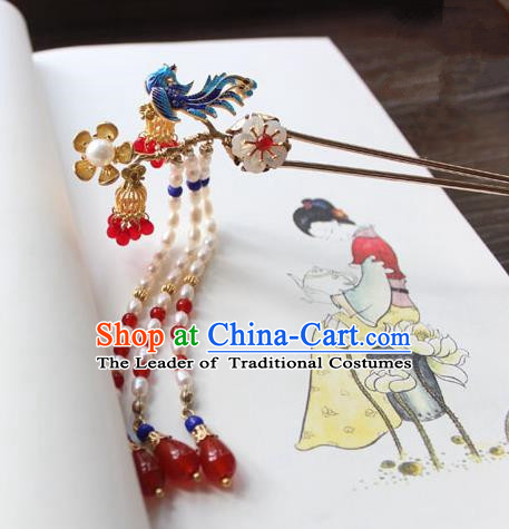 Chinese Ancient Handmade Palace Blueing Hair Clip Hair Accessories Hanfu Pearls Tassel Hairpins for Women