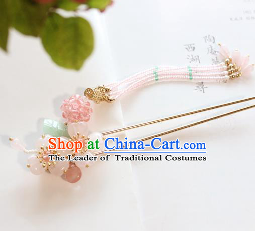 Chinese Ancient Handmade Palace Pink Beads Tassel Hair Clip Hair Accessories Hanfu Hairpins for Women