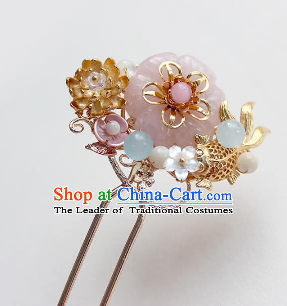 Chinese Ancient Handmade Goldfish Hair Clip Classical Hair Accessories Hanfu Brass Hairpins for Women