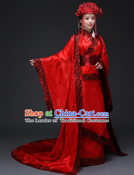 Chinese Ancient Wedding Costumes Han Dynasty Empress Red Hanfu Dress Clothing and Headpiece Complete Set for Women