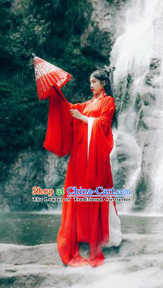 Chinese Ancient Princess Red Hanfu Dress Jin Dynasty Swordswoman Wedding Costumes Complete Set