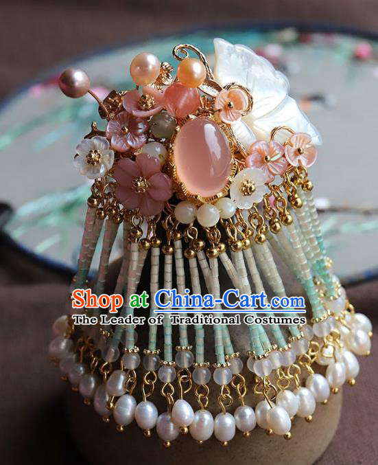Chinese Ancient Handmade Classical Pearls Shell Hair Claw Hair Accessories Hanfu Hairpins for Women