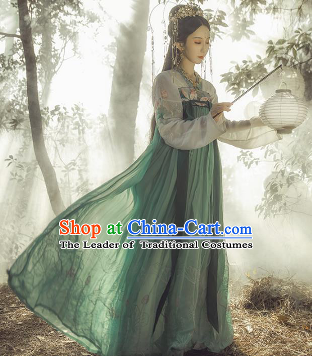 Chinese Ancient Princess Costume Traditional Tang Dynasty Imperial Consort Embroidered Green Hanfu Dress for Women