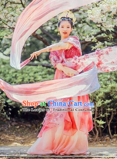 Chinese Ancient Palace Lady Dance Costume Traditional Tang Dynasty Imperial Concubine Embroidered Hanfu Dress for Women