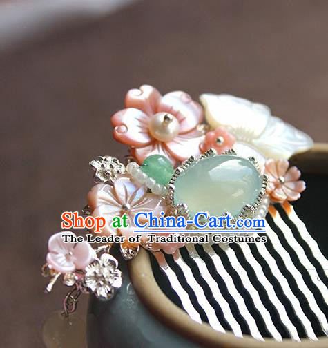 Chinese Ancient Handmade Shell Butterfly Hair Comb Classical Hair Accessories Hanfu Hairpins for Women