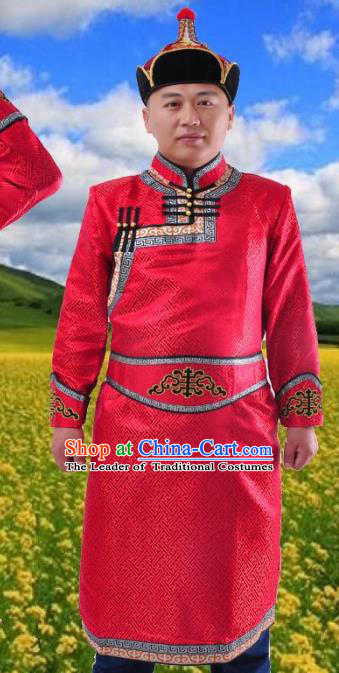 Chinese Mongol Nationality Costume Red Mongolian Robe Traditional Mongolian Minority Folk Dance Clothing for Men
