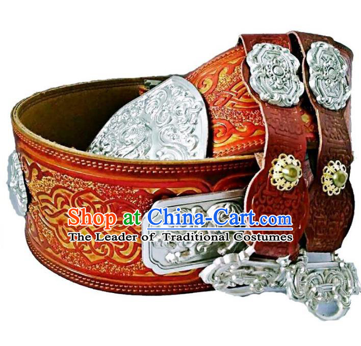 Chinese Handmade Mongol Nationality Waistband Mongolian Leather Belts for Men