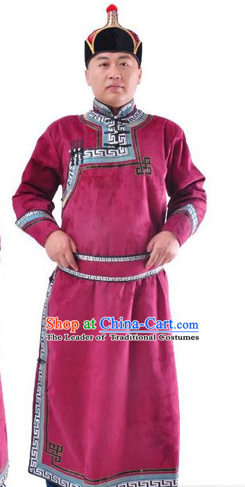 Chinese Mongol Nationality Costume Traditional Mongolian Minority Folk Dance Wine Red Mongolian Robe for Men
