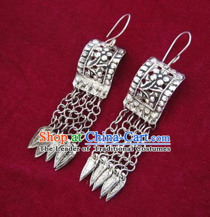 Chinese Handmade Miao Nationality Accessories Hmong Long Tassel Sliver Earrings for Women