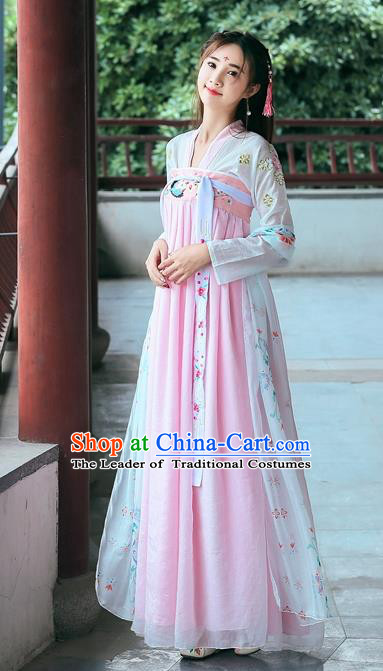 Ancient Chinese Fairy Tang Dynasty Nobility Lady Embroidered Hanfu Dress for Women