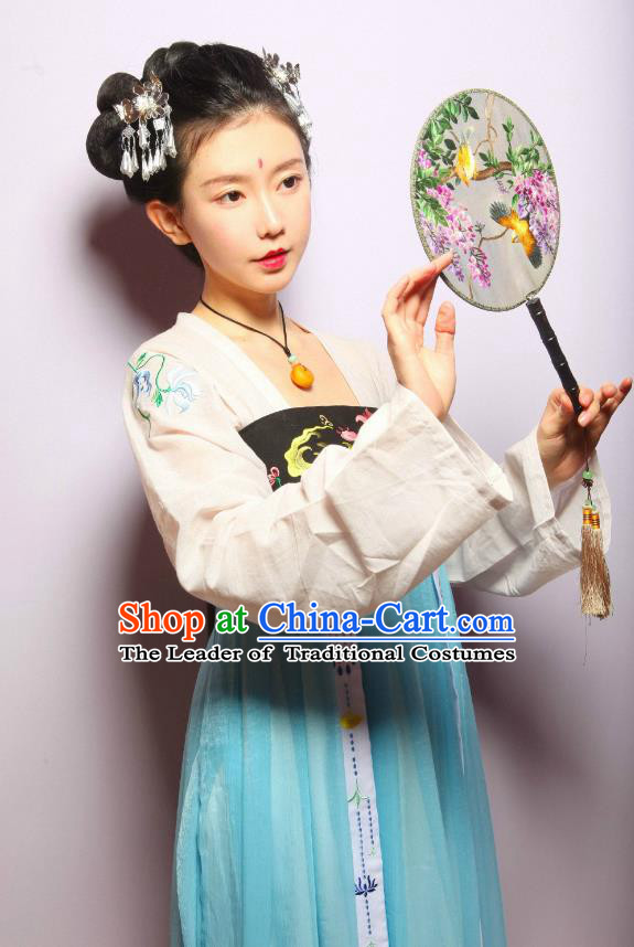 Ancient Chinese Palace Maid Costume Tang Dynasty Maidenform Embroidered Hanfu Dress for Women