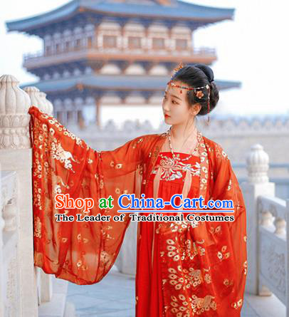 Ancient Chinese Traditional Palace Lady Costume Tang Dynasty Imperial Consort Embroidered Hanfu Dress for Women