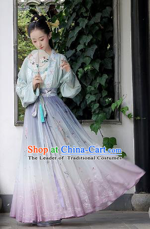Chinese Ancient Noble Lady Clothing Traditional Song Dynasty Palace Princess Embroidered Hanfu Dress for Women