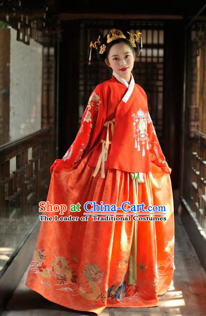 Chinese Ancient Bride Embroidered Costume Traditional Ming Dynasty Wedding Hanfu Dress for Women