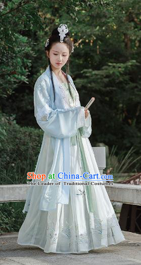 Chinese Ancient Maidenform Embroidered Costume Traditional Song Dynasty Palace Princess Hanfu Dress for Women
