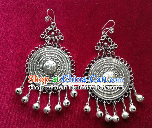 Chinese Handmade Miao Nationality Jewelry Accessories Sliver Bells Tassel Earbob Hmong Earrings for Women