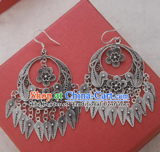 Chinese Handmade Miao Nationality Bird Tassel Eardrop Jewelry Accessories Hmong Sliver Earrings for Women