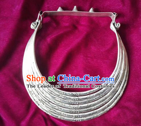 Chinese Miao Nationality Ornaments Sliver Necklace Traditional Hmong Necklet Jewelry for Women