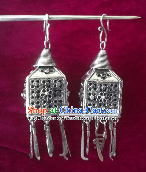 Chinese Handmade Miao Sliver Pierced Eardrop Hmong Nationality Earrings for Women