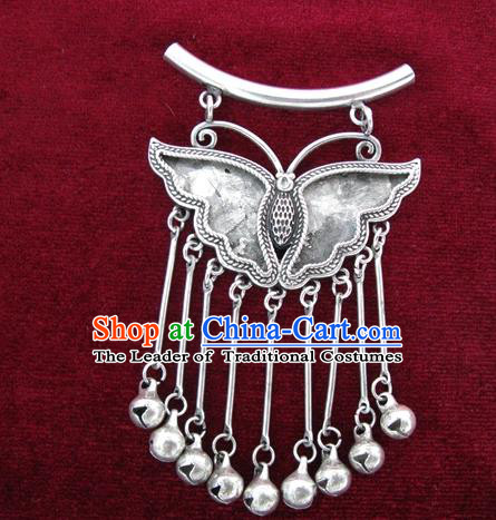 Chinese Miao Sliver Ornaments Bells Tassel Necklace Traditional Hmong Butterfly Necklet Pendant for Women