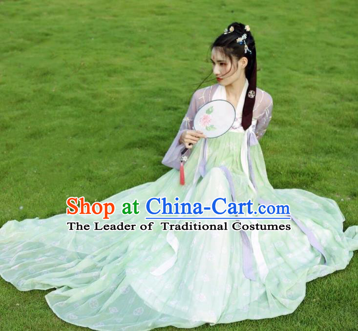Traditional Chinese Tang Dynasty Aristocratic Lady Embroidered Costume Ancient Imperial Concubine Hanfu Dress for Women