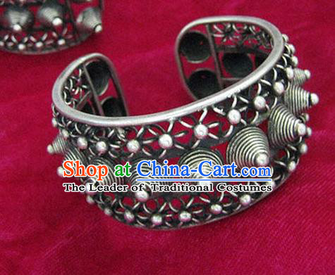 Chinese Miao Sliver Ornaments Rivet Bracelet Traditional Hmong Handmade Sliver Bangle for Women