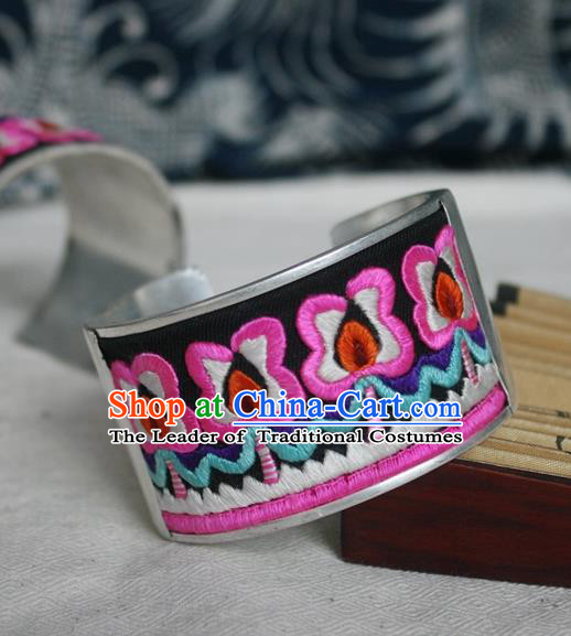 Chinese Miao Sliver Ornaments Embroidered Wide Bracelet Traditional Hmong Handmade Sliver Bangle for Women