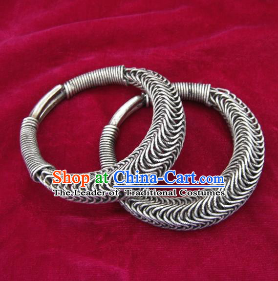 Handmade Chinese Miao Sliver Ornaments Exaggerated Bracelet Traditional Hmong Sliver Bangle for Women