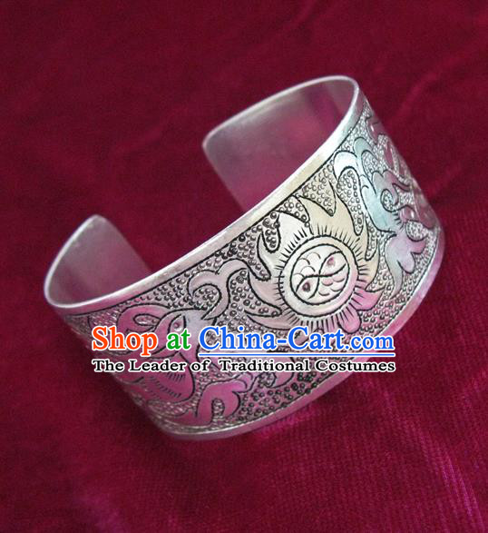 Handmade Chinese Miao Nationality Carving Phoenix Bracelet Traditional Hmong Sliver Bangle for Women