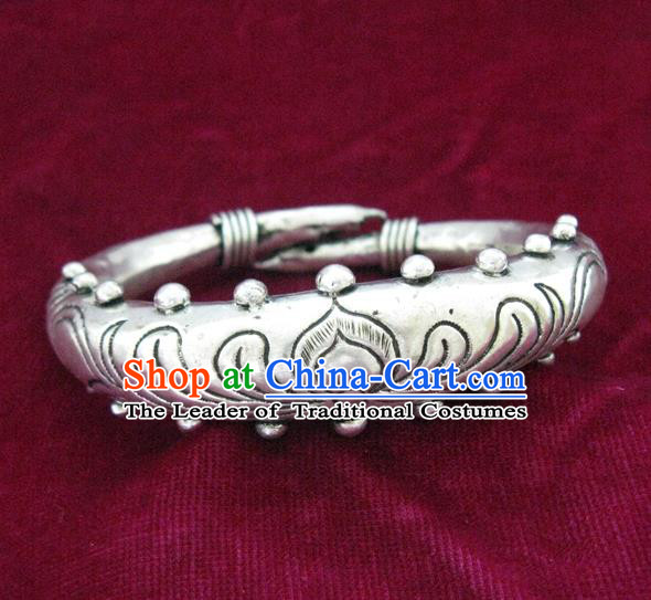 Handmade Chinese Miao Nationality Carving Lotus Bracelet Traditional Hmong Sliver Bangle for Women