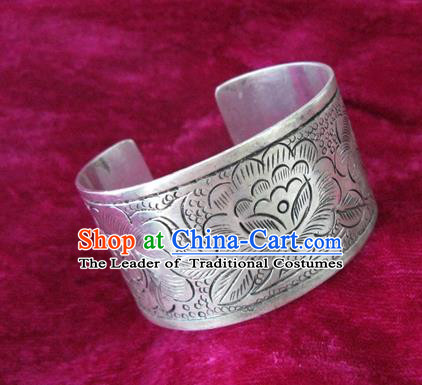Handmade Chinese Miao Nationality Carving Peony Bracelet Traditional Hmong Sliver Bangle for Women