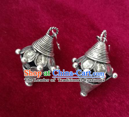 Chinese Miao Sliver Traditional Flower Earrings Hmong Ornaments Minority Headwear for Women