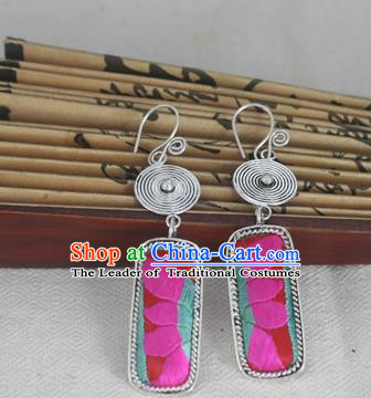 Chinese Miao Sliver Traditional Embroidered Lotus Earrings Hmong Ornaments Minority Headwear for Women