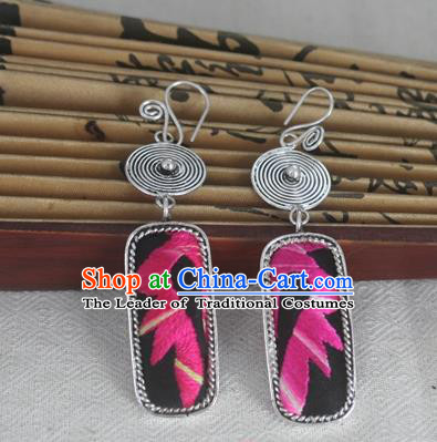 Chinese Miao Sliver Traditional Embroidered Black Earrings Hmong Ornaments Minority Headwear for Women