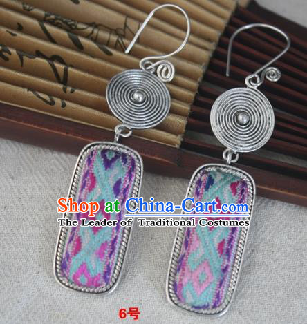 Chinese Miao Sliver Traditional Embroidered Colorful Earrings Hmong Ornaments Minority Headwear for Women