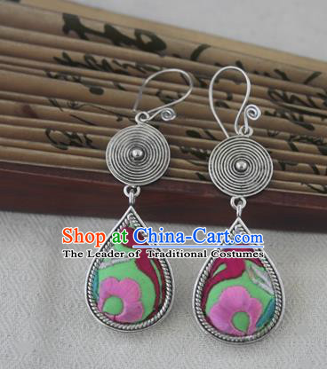 Chinese Miao Sliver Traditional Embroidered Flower Green Earrings Hmong Ornaments Minority Headwear for Women