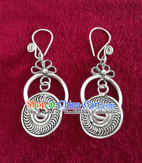 Chinese Miao Sliver Traditional Earrings Hmong Ornaments Minority Longevity Lock Headwear for Women