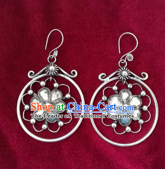 Traditional Chinese Miao Sliver Flower Earrings Hmong Ornaments Minority Headwear for Women